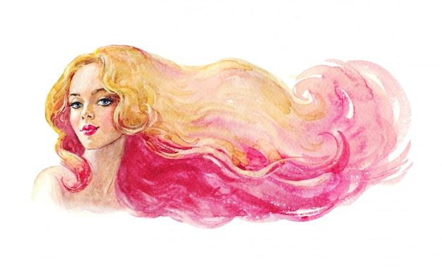 Giovane donna di bellezza dell'acquerello. signora disegnata a mano con capelli biondi e rosa. illustrazione di moda di pittura isolata