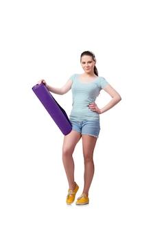 Giovane donna nel concetto di sport isolato sul bianco