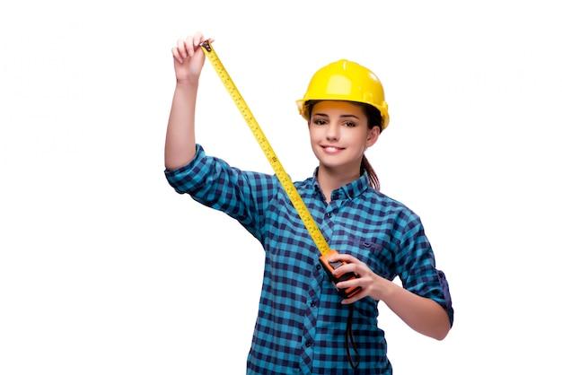 Giovane donna nel concetto industriale isolato su bianco