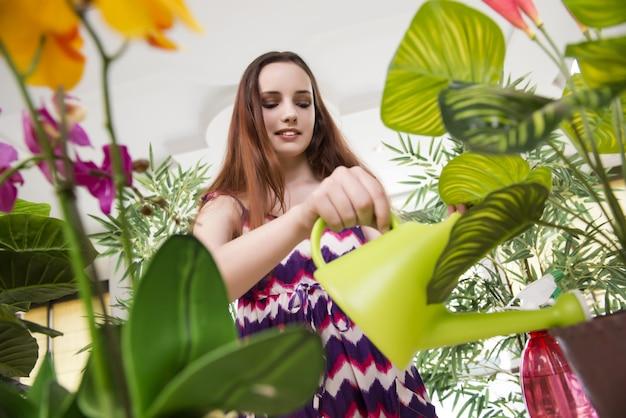 Giovane donna prendersi cura delle piante domestiche
