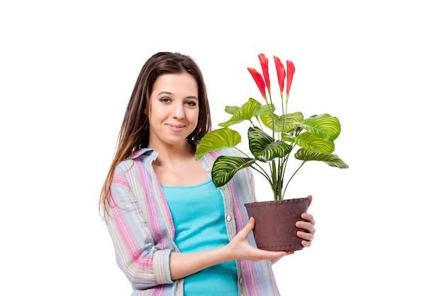 Giovane donna prendersi cura delle piante isolate su bianco