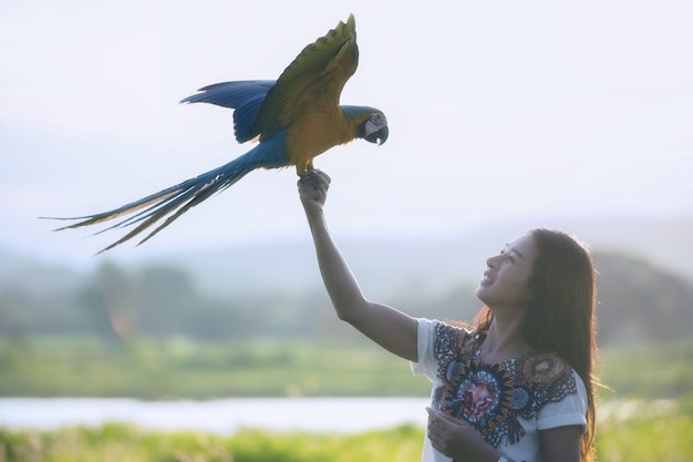 Giovane donna sagoma con pappagallo colorato divertente