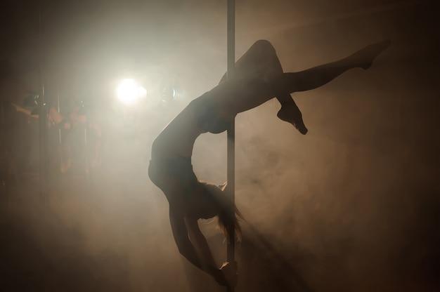 Giovane donna sexy pole dance esercizio sul buio.
