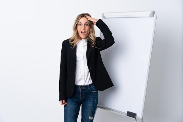 Giovane donna sopra il muro bianco isolato con sorpresa e scioccata espressione facciale