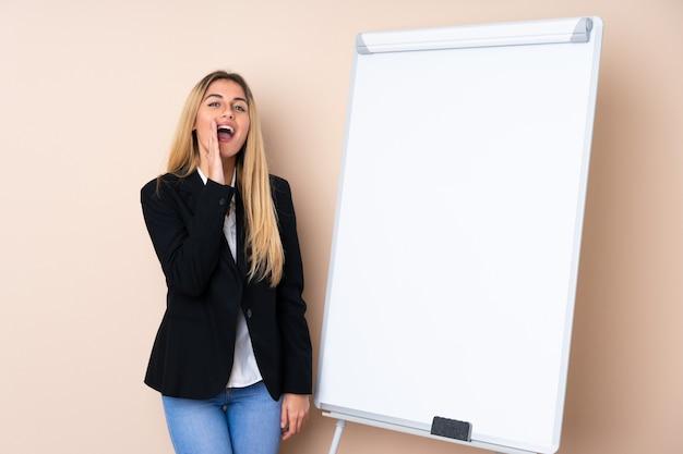 Giovane donna uruguaiana che dà una presentazione sul bordo bianco e che grida con la bocca spalancata