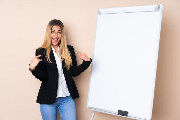 Giovane donna uruguaiana che dà una presentazione sul bordo bianco e con espressione sorpresa