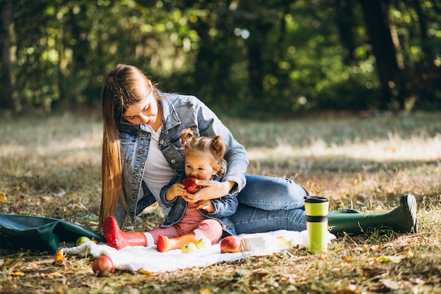 Giovane madre con la sua piccola figlia in un parco di autunno che ha picnic