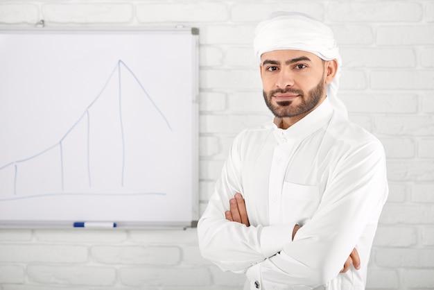 Giovane maschio musulmano in abbigliamento islamico tradizionale in piedi davanti al grafico finanziario