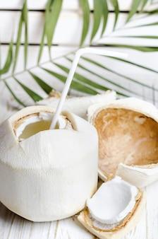 Giovane noce di cocco su bianco in legno.