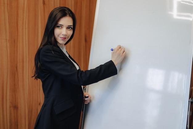 Giovane ragazza attraente emotiva in stile business vestiti di lavoro