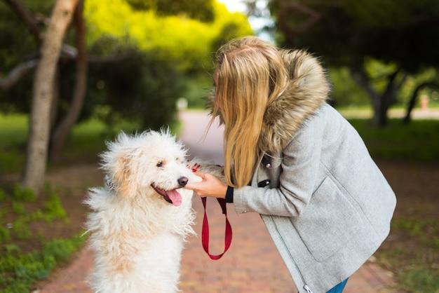 Giovane ragazza con il suo cane in un parco
