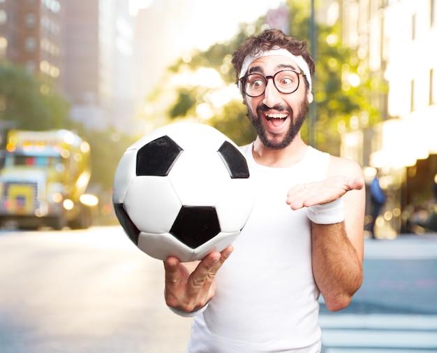 Giovane sport folli. felice espressione