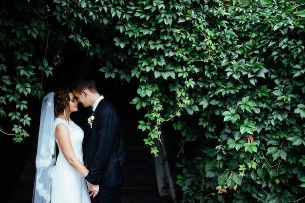 Giovane sposa che abbraccia il suo sposo nel bellissimo parco