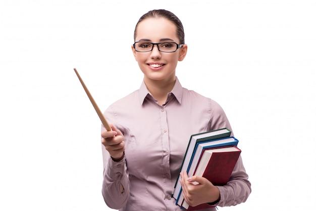 Giovane studente con libri isolato su bianco