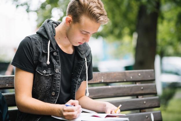 Giovane studente di apprendimento sulla panchina
