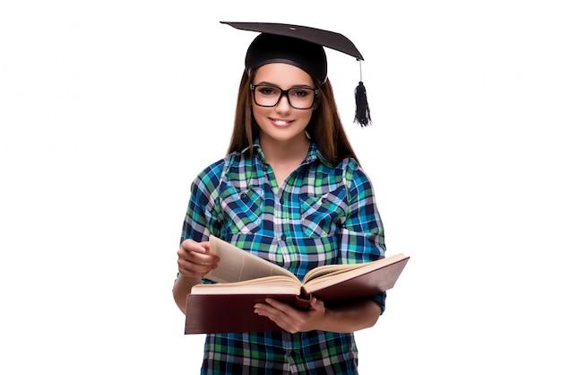 Giovane studente isolato su sfondo bianco