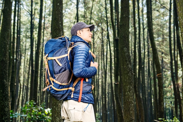Giovane uomo asiatico con cappello e zaino escursionismo
