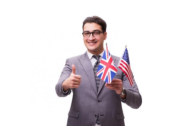 Giovane uomo d'affari con la bandiera isolata su bianco