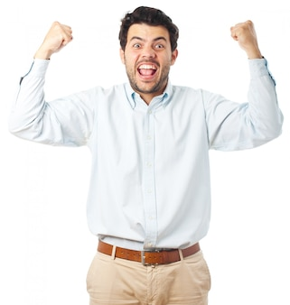 Giovane uomo felice su uno sfondo bianco