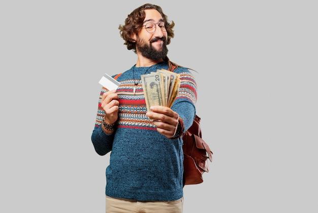 Giovane uomo hippie con una carta di credito