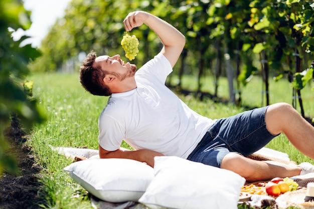 Giovane uva castana bella di cibo al picnic in vigna