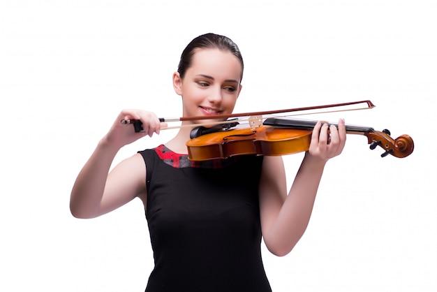 Giovane violinista elegante isolato su bianco