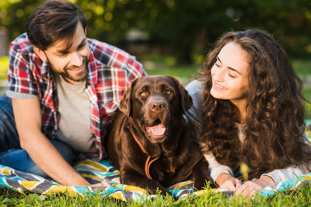 Giovani coppie che esaminano il loro cane carino nel parco