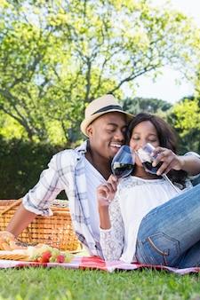 Giovani coppie che hanno un picnic nel parco