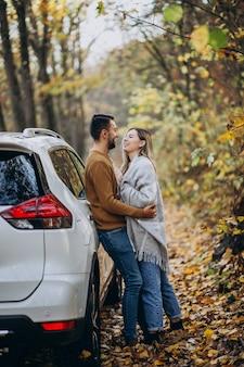 Giovani coppie insieme nel parco in macchina