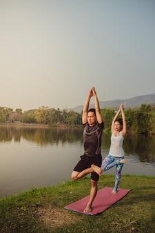 Giovani coppie, paesaggio e yoga