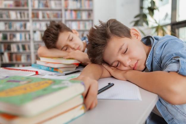 Giovani gemelli che dormono sui loro libri, sentendosi esausti dopo aver studiato.