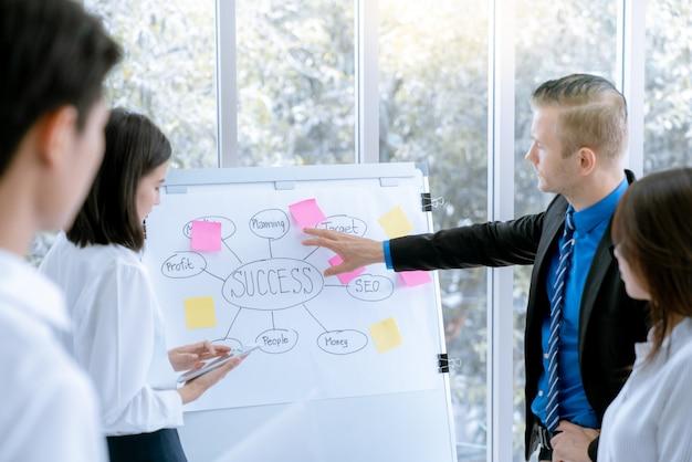 Giovani uomini d'affari vengono presentati al progetto di lavoro di marketing per il cliente nell'ufficio della sala riunioni