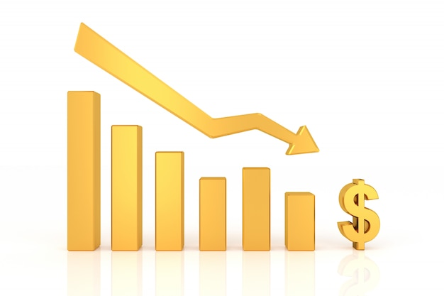 Giù grafico della valuta del dollaro. rendering 3d.