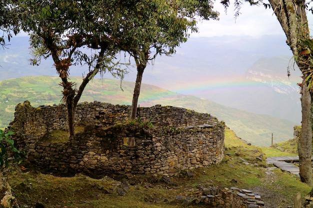 Gli alberi che crescono all'interno delle rovine della casa arrotondata della cittadella di montagna di kuelap con l'arcobaleno, perù