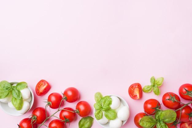 Gli ingredienti per un'insalata caprese. basilico, palline di mozzarella e pomodori con lo spazio della copia.