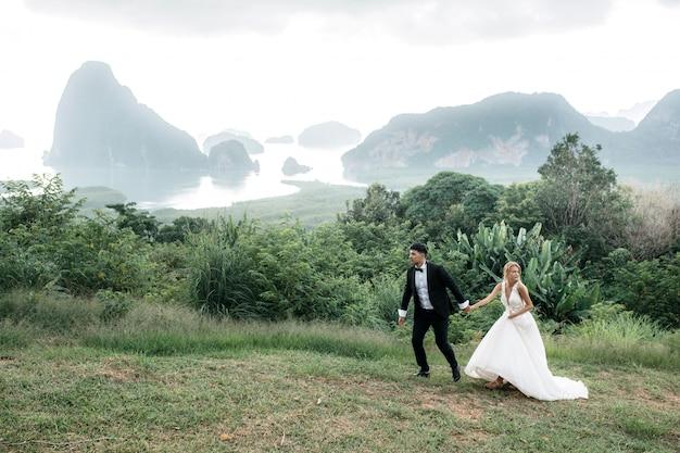 Gli sposi camminano e si tengono per mano sulla collina. bellissimo paesaggio con montagne e lago.