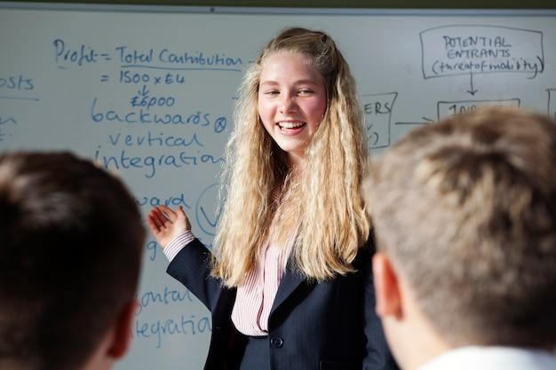 Gli studenti discutono in classe in classe.