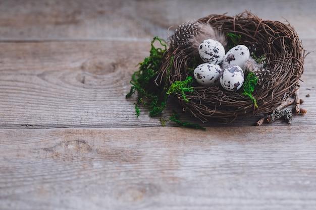 Gli uccelli eggs in nido su fondo di legno rustico, cartolina di concetto di pasqua