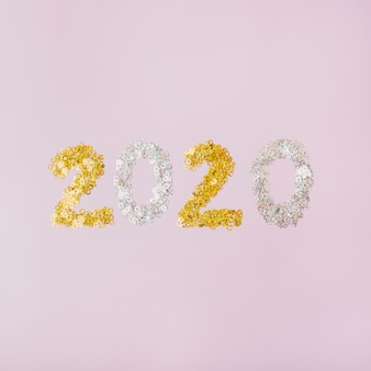 Glitter argento e dorato con sfondo spazio copia