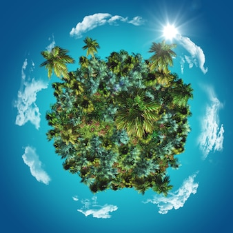 Globo 3d con palme tropicali ed erbe con nuvole