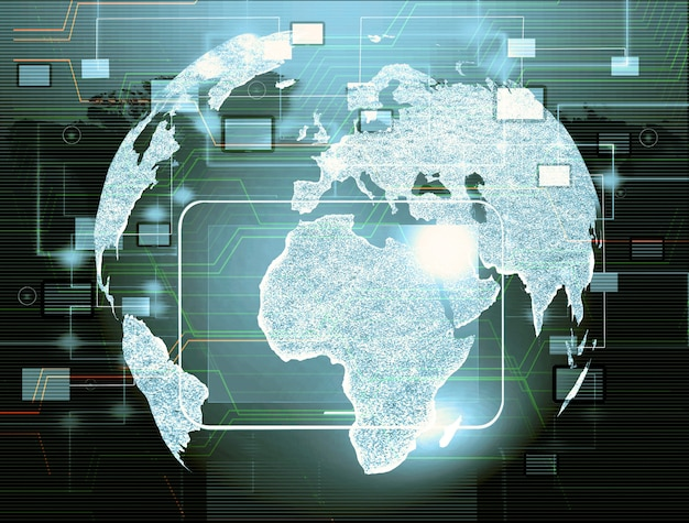 Globo con puntatori, segnali e icone di social networking, rete di media sociali