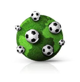 Globo del mondo dell'erba verde 3d con i palloni da calcio