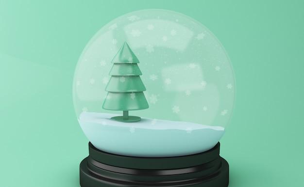 Globo della neve 3d con l'albero di natale astratto.