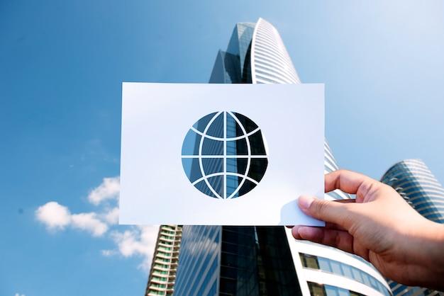 Globo di carta perforata tecnologia di rete di globalizzazione