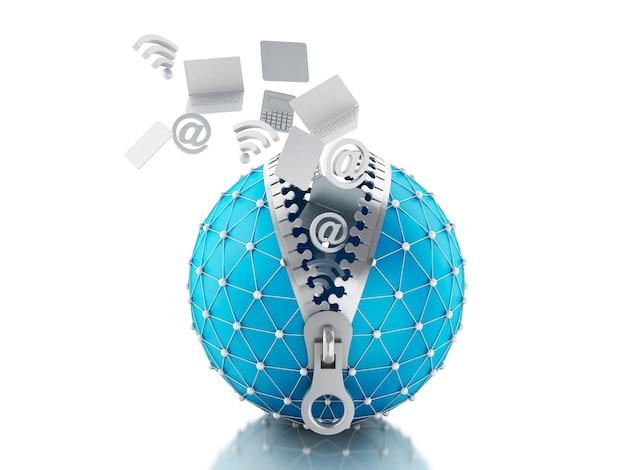 Globo di rete 3d con cerniera. concetto di comunicazione di rete.