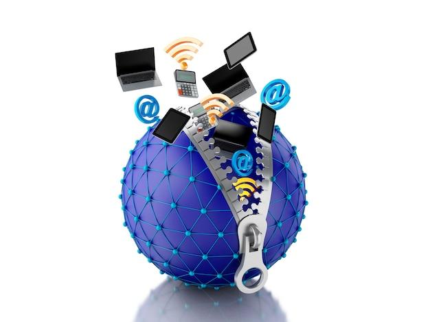 Globo di rete 3d con cerniera. concetto di rete.