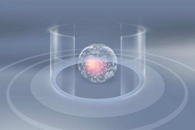 Globo terrestre blockchain all'interno di pareti cilindriche trasparenti