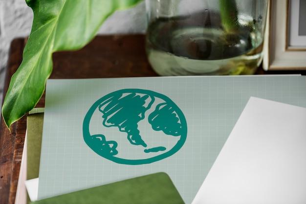 Globo verde disegnato su una carta