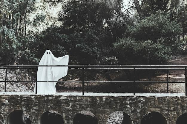 Gloomy fantasma con la mano alzata in piedi sul cavalcavia nella foresta