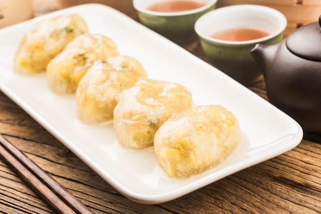 Gnocchi di carne di cristallo cinese al vapore